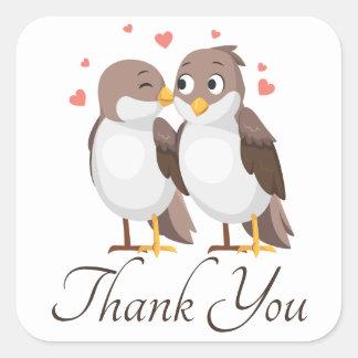Sticker Carré Perruches Brown de Merci et oiseaux blancs de
