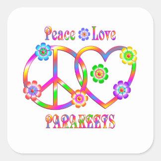 Sticker Carré Perruches d'amour de paix