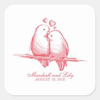 Sticker Carré Perruches douces Valentine épousant le joint