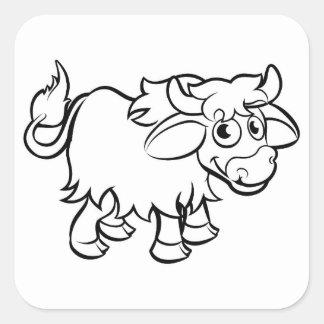 Sticker Carré Personnage de dessin animé de yaks