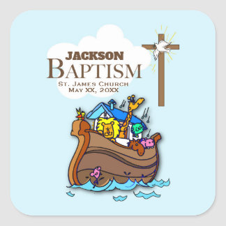 Sticker Carré Personnalisable, l'arche de Noé de baptême de bébé