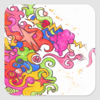 Sticker Carré Pet de licorne