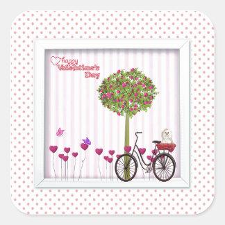 Sticker Carré Petit chien, panier, bicyclette, arbre de fleur et
