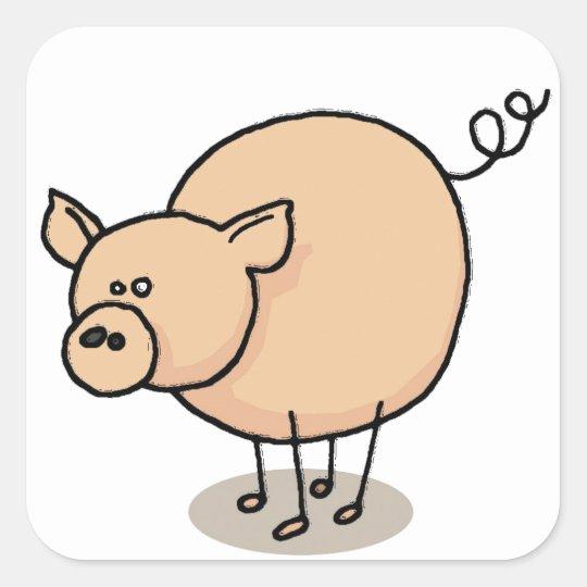 Sticker Carré Petit cochon Gro-Gro