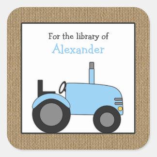 Sticker Carré Petit ex-libris bleu de bibliothèque de tracteur