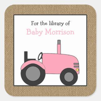 Sticker Carré Petit ex-libris rose de bibliothèque de tracteur