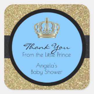 Sticker Carré Petit garçon bleu de prince baby shower royal