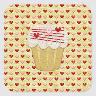 Sticker Carré Petit gâteau de Valentine avec des bougies de