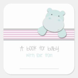 Sticker Carré Petit hippopotame - livre pour des ex-libris de