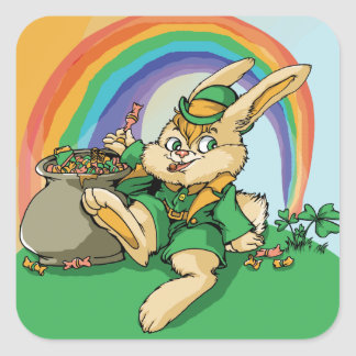 Sticker Carré Petit lapin drôle de Patrick de saint