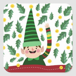 Sticker Carré Petit Noël heureux Elf dans le chandail vert