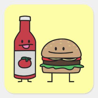 Sticker Carré Petit pâté de petit pain d'amis d'aliments de