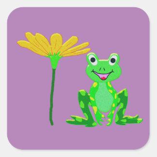 Sticker Carré petite grenouille et fleur jaune