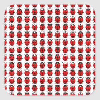 Sticker Carré Petites coccinelles rouges