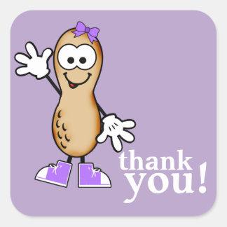 Sticker Carré Peu d'autocollant (pourpre) de Merci d'arachide