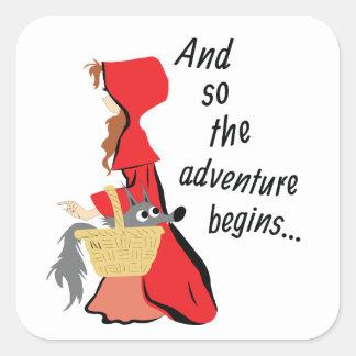 Sticker Carré Peu de capuchon rouge et son chiot de loup