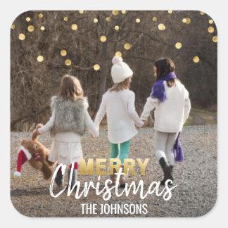 Sticker Carré PHOTO blanche du Joyeux Noël | de confettis d'or