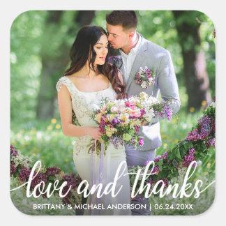 Sticker Carré Photo d'amour et de mercis de Merci de mariage