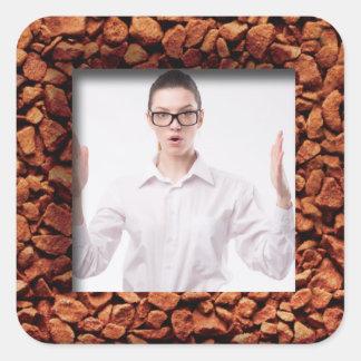 Sticker Carré Photo de grain de café personnalisée