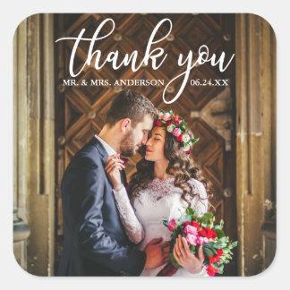 Sticker Carré Photo élégante de jeunes mariés de Merci de
