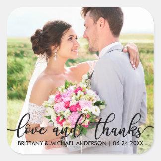 Sticker Carré Photo moderne B de Merci de mariage d'amour et de