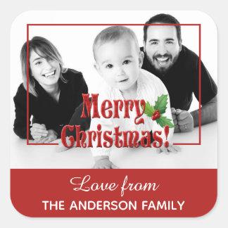Sticker Carré Photo moderne de coutume de Joyeux Noël