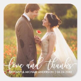 Sticker Carré Photo moderne de Merci de mariage d'amour et de