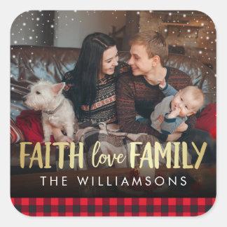 Sticker Carré Photo rouge de Noël de famille d'amour de foi de