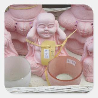 Sticker Carré Photographie néerlandaise Buddhas rose heureux