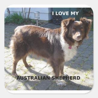 Sticker Carré PIC rouge de l'amour W de berger australien tri