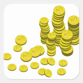 Sticker Carré Pièces de monnaie d'or