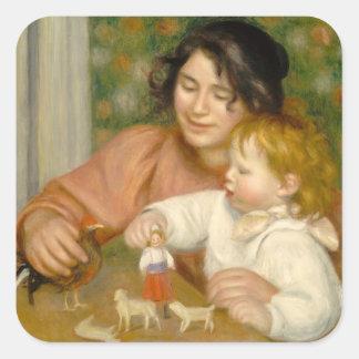 Sticker Carré Pierre un enfant de Renoir | avec des jouets