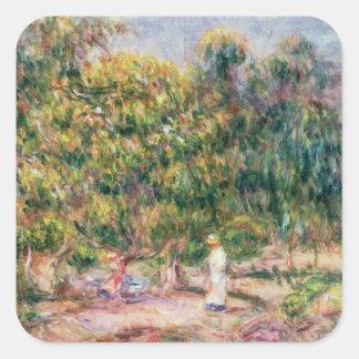 Sticker Carré Pierre une femme de Renoir | dans le jardin de Les