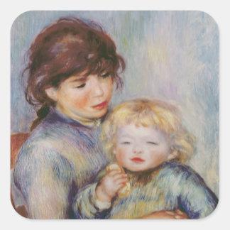 Sticker Carré Pierre une maternité de Renoir  , enfant avec un