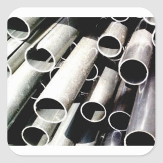 Sticker Carré pile de tubes en métal