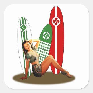 Sticker Carré Pin-up Basque France