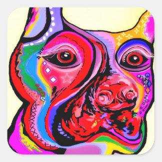 Sticker Carré Pinscher de dobermann dans des couleurs lumineuses