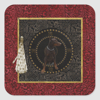 Sticker Carré Pinscher de dobermann, forme ronde, chien dans le