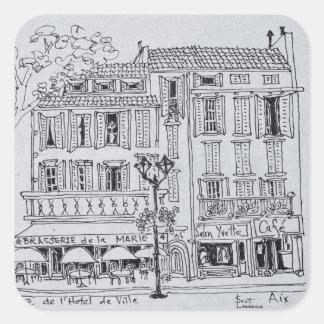 Sticker Carré Place de L'Hotel De Ville | Aix-en-Provence