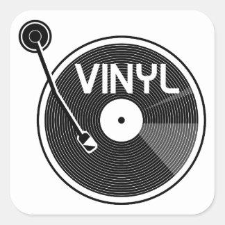 Sticker Carré Plaque tournante de disque vinyle noire et blanche