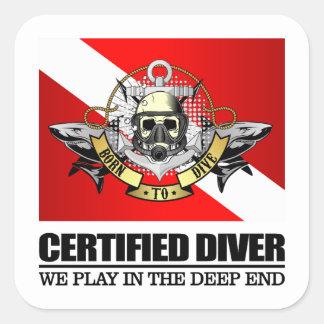 Sticker Carré Plongeur certifié (BDT) 2