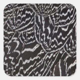 Sticker Carré Plumes casquées de Guineafowl