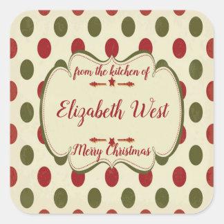 Sticker Carré Pois de Noël, biscuit et festins, coutume