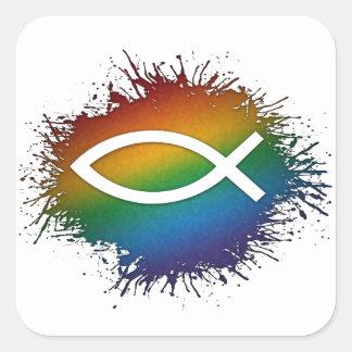 Sticker Carré Poissons de chrétien d'arc-en-ciel