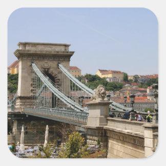 Sticker Carré Pont à chaînes de Széchenyi, Budapest, Hongrie