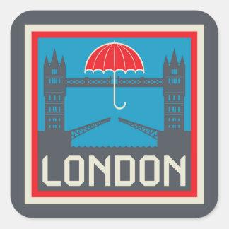 Sticker Carré Pont de Londres avec le parapluie