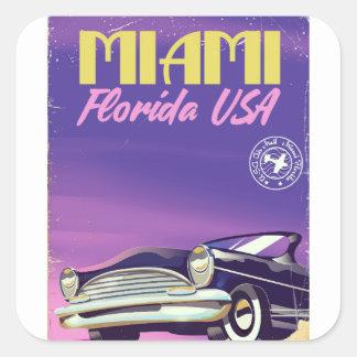 Sticker Carré Poster vintage de Miami la Floride Etats-Unis