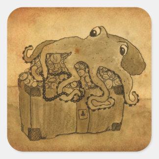 Sticker Carré Poulpe et coffre au trésor