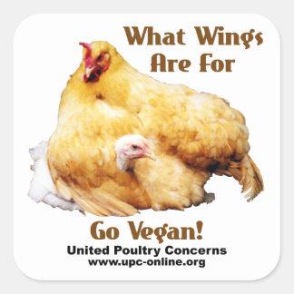 Sticker Carré Pour quelles ailes soyez - vont le végétalien