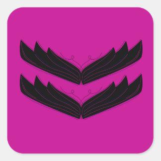 Sticker Carré Pourpre artistique de noir d'ailes